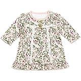 ベビー服 ワンピース 長袖 肩ボタン 花柄 ふわふわ ピコレース フリル 女の子 赤ちゃん 綿100% ピンク 9M