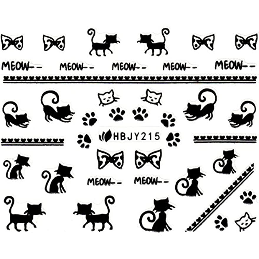 スナックピンポイントウェイターネイルシール ねこ 猫 黒猫 クロネコ 選べる12種類 (ブラックNB, 04)