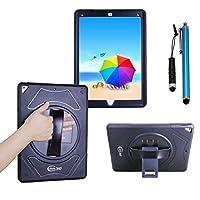 iPad Pro 12.9 (第二世代の第一世代) ケース 【Cellular360】オリジナル, iPad Pro 保護ケース 耐久性のある保護カバー、衝撃防止、360度回転ブラケットとハンドストラップ付き (ブラック)