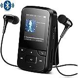 AGPTEK Bluetooth搭載 クリップ MP3プレーヤー 8GB内蔵 高音質 ミニ ミュージックプレーヤー FMラジオ/録音 最大128GBマイクロSDカードに対応 G6 ブラック