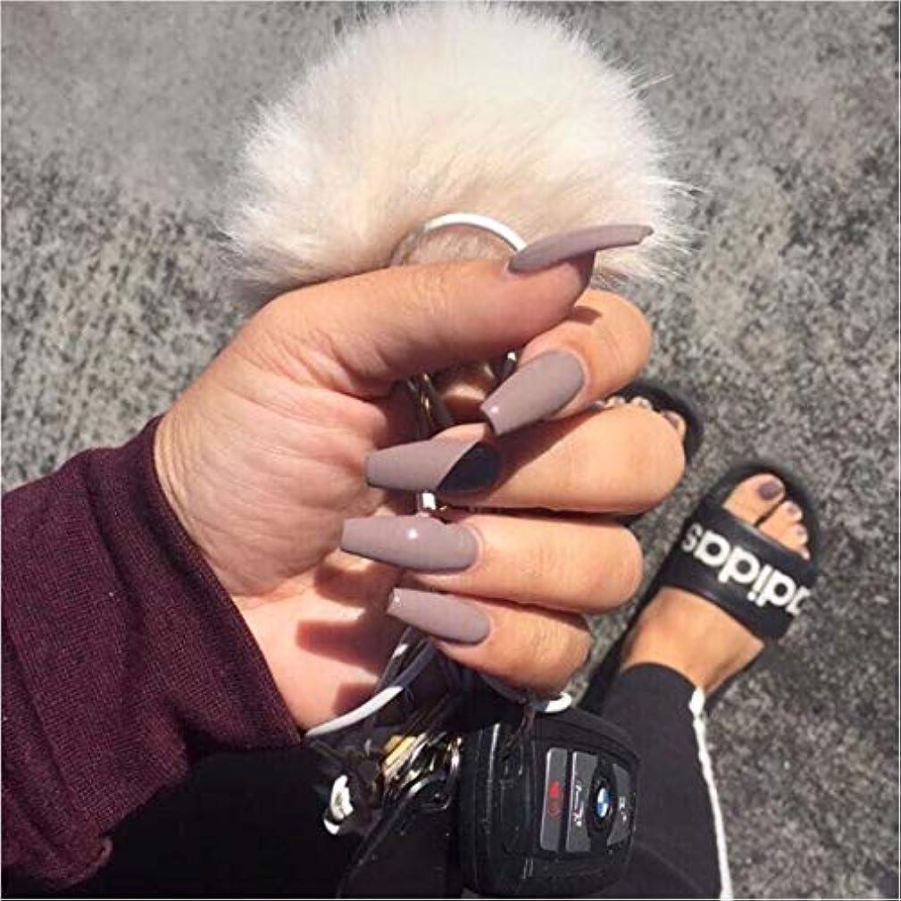 フィット認可間隔XUTXZKA グレーの純粋な色の偽の爪の女性の完全な爪のヒントの花嫁の偽の爪