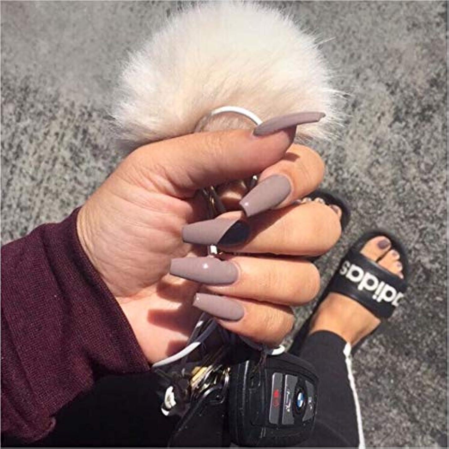 挨拶するコロニー臭いXUTXZKA グレーの純粋な色の偽の爪の女性の完全な爪のヒントの花嫁の偽の爪