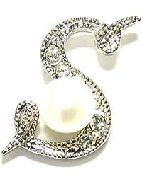 淡水真珠白5.5mmボタン型イニシャルピンブローチS