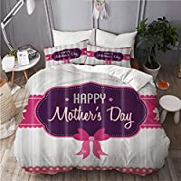 NR 布団カバー シングル4点セット BowKnot Happy Mother 's Day 枕カバー 掛け布団カバーあったか おしゃれ かわいい柔らかい肌に優しい