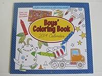 2014Boy 's Coloring Book with 100Funステッカー16月予定表12x 11インチ