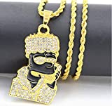 CZダイヤモンドゴールドバートシンプソンヘッドチェーン最高のネックレスヒップホップラッパーブレスレットジュエリー bart simpson chain. diamond hip hop necklace bart.