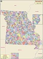 "Missouri ZIPコードマップ–ラミネート( 36"" W x 50.14"" H )"