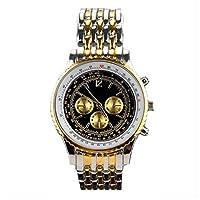 ノーブランド品 高級感溢れるメタルバンドにビッグケース フェイクダイアルメンズウォッチ AV029-BKGD メンズ腕時計 [並行輸入品]