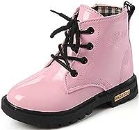 (ダダウン)DADAWEN 子供ブーツ 男の子 女の子 ショートブーツ エナメル調 防水 ジッパー 脱ぎ履き便利 柔らかい 滑り止め 通学靴 ピンク 20.5