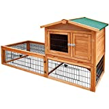 Waterproof Pet Coop Rabbit Hutch Wooden Chicken 2 Storey Tray 155cm Tall