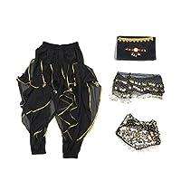 Baosity ベリーダンス 衣装 ヘッドベール ダンスブラジャー ウエストチェーン パンツ ベルト コスチューム 5点セット - ブラック