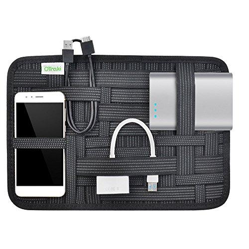 OTraki カバン 整理 バッグインバッグ A4 サイズ PC周辺 / 携帯周辺 / モバイルバッテリー / ケーブル 小物用収納 かばん中身 収納 ポーチ 固定 バンド おしゃれ ガジェットバッグ トラベル 旅行 出張用 背面 ポケット付き