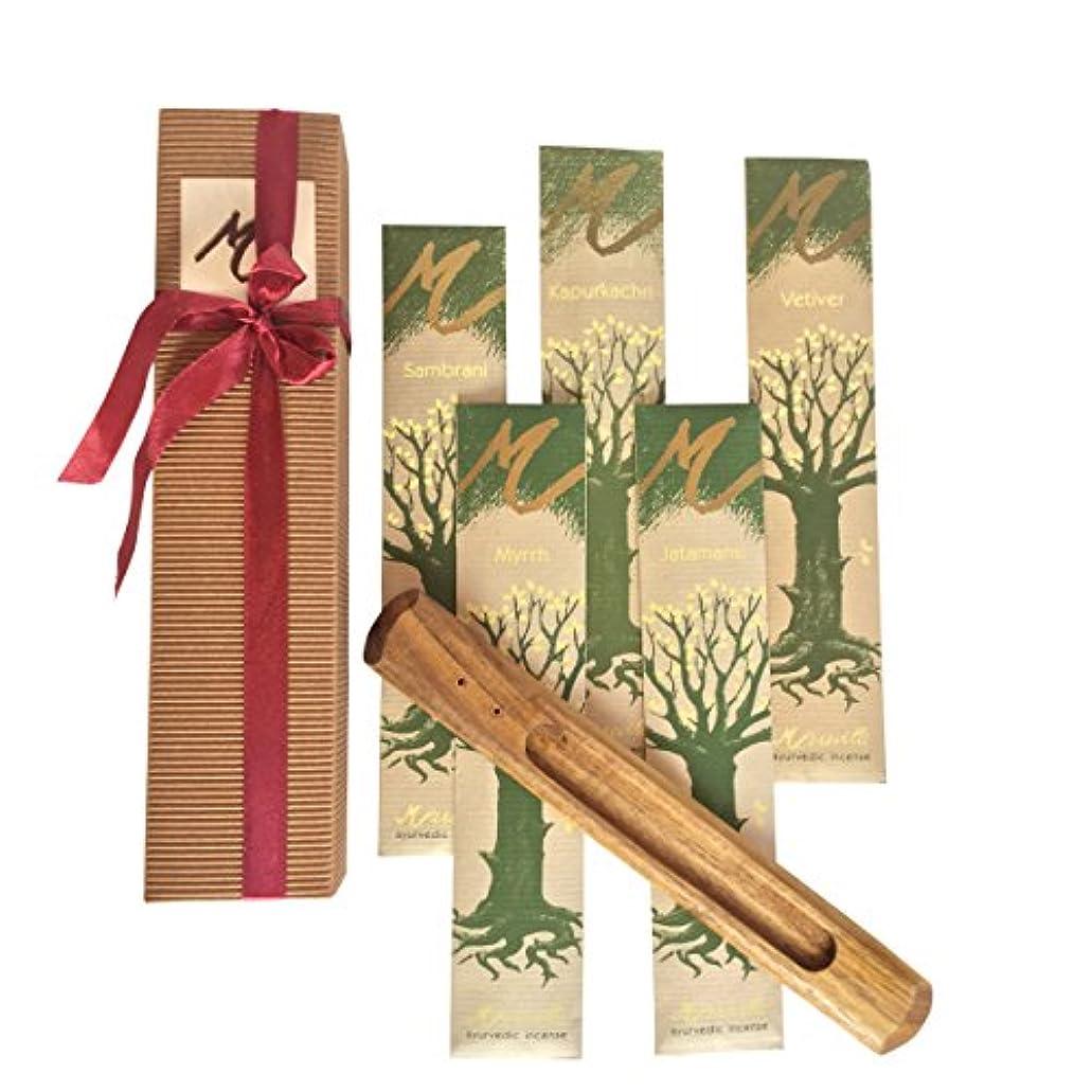 ご近所浮く染色プレミアムIncense Sticks , Ayurvedic Aromaticお香ギフトセットボックスには5種類のお香( Jatamansi、kapurkachuri、Myrrh、ベチバー、Sambrani )と木製スティックホルダー。GREAT GIFT IDEA