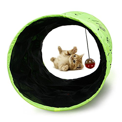 YBHMO ペット用品 キャットトンネル 猫トンネル 猫遊び道具 猫グッズ ドーム テント ベッド 羽ボール 折り畳み猫のおもちゃ グリーン