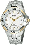 Men 's Two ToneステンレススチールSport Watch Silver Tone Wave Patterned Dial