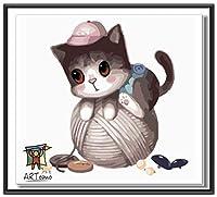 ARTomo【アトモ】パズル油絵『フレーム付き』数字 油絵 DIY パズル塗り絵(ぬりえ) 本格的な油絵が誰でも簡単に楽しく描ける(猫シリーズ)30x30cm (糸ねこ)