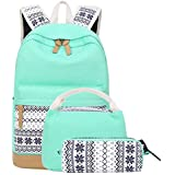 School Backpacks for Teen Girls Lightweight Canvas Backpack Bookbags Set (Light
