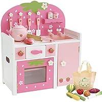 マザーガーデン Mother garden 木のおままごと 野いちご つぶつぶ ピンク グリルキッチン + 野菜セット 〔キッチンセット お料理 ごっこ〕 木製 食材 おもちゃ おままごとセット