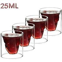 クリスタルスカルShotglassスカルガラスカップ、二層透明スカル海賊ショットグラスドリンクカクテルビール、カップ、ワイン飲料Wareカップ、マグカップ、クリエイティブハロウィンマグ 25ml,4 Pcs NDHT0428111