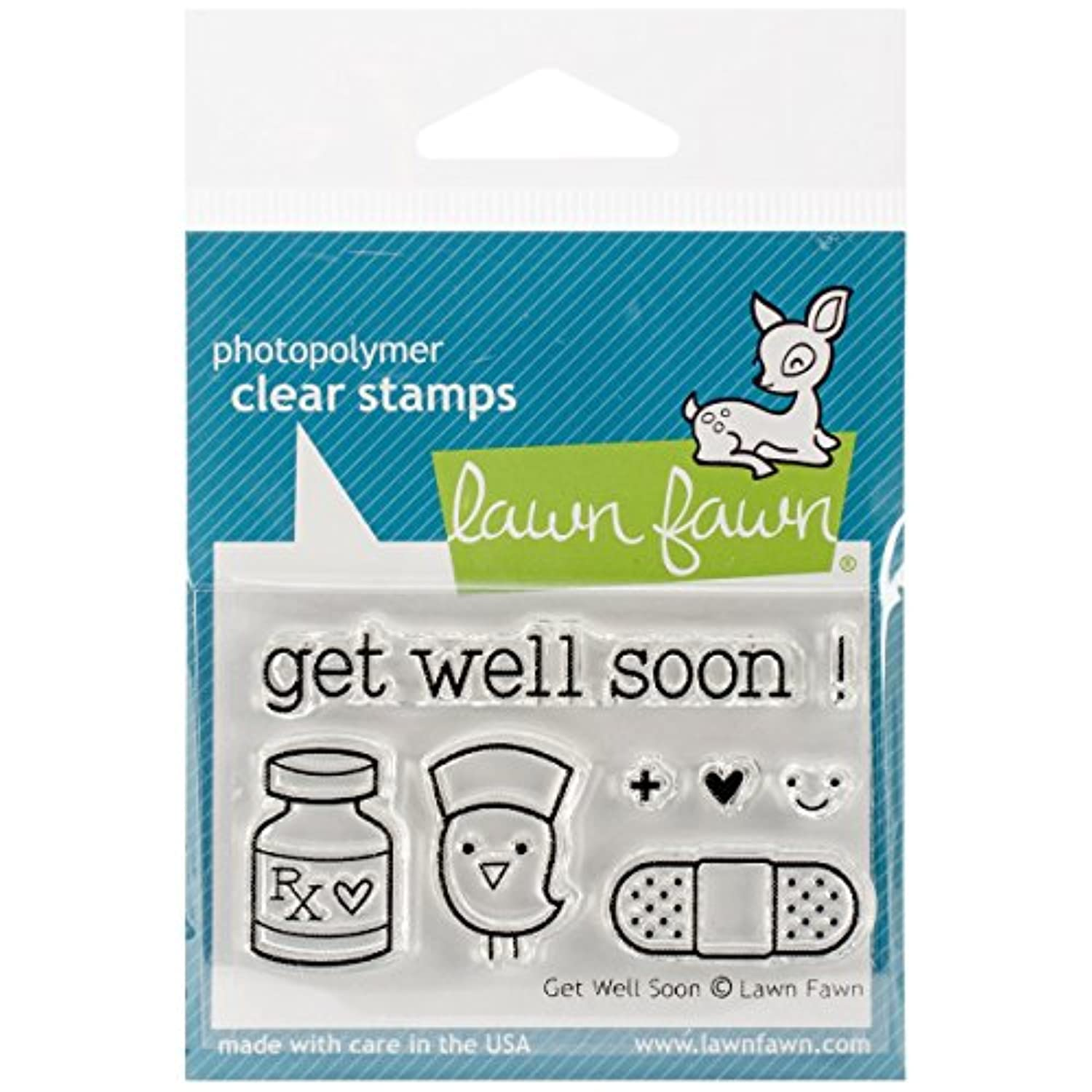 LF682 Lawn Fawn Clear Stamp - Get Well Soon by Lawn Fawn