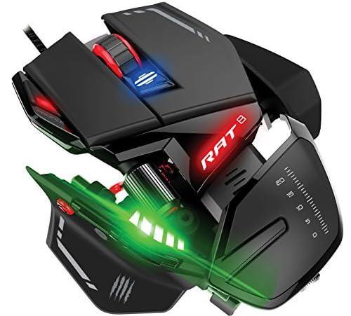 ラット8 オプティカル ゲーミングマウス ブラック/レッド Pixart 3360 44種類の機能割当が保存できる 4プロファイル(モード) オンボードメモリ搭載 11個のプログラマブルボタン搭載 1680万色 インテリジェントライティングコントロール 4kディスプレイ対応のdpi オーバードライブ機能搭載(4倍) アルミニウムシャーシ 5000万回耐久 オムロン社製スイッチ採用 サムホイール搭載 4段階の調節が可能な3種類のパームレスト搭載 3種類のピンキーレスト搭載 マウスの幅とマクロボタンの位置調節が可能なサムレスト搭載