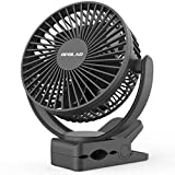 OPOLAR 5000mAh Rechargeable Battery Operated Clip On Fan, Upgrade Quieter & Stronger Wind, 10W Fast Charge, Strong Clamp Personal Portable Fan for Golf Cart, Office Desk, Chair, Treadmill