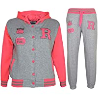 Kids Girls Boys Hooded Baseball Varsity Tracksuit Hoodie Bottom Set Joggers 7-13