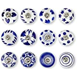 Set of 12 Pcs Ceramic Door Knobs Hand Painted Beautiful Cupboard Knobs Cabinet Drawer Pull knobs Kitchen Knobs (Blue)