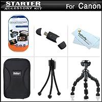 スターターアクセサリーキットfor the Canon PowerShot a2300is , a2400is , a3400is , a4000isデジタルカメラはデラックス携帯ケース+ 7柔軟な三脚+ USB High Speed 2.0SDカードリーダー+ LCDスクリーンプロテクター+ミニ卓上三脚+マイクロファイバー布