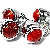 ブレットウィンカー オレンジ ランプ 4個 セット 汎用 12V アメリカン バイク 用 シルバー レトロ クローム メッキ 方向 指示 ランプ (スモール)