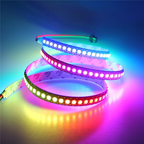 ALITOVE WS2812 アドレス 指定可能 LEDテープライト 1m 144LEDピクセルフレックスランプドリームカラー非防水 黒いベース PCB DC5Ⅴ