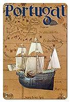 22cm x 30cmヴィンテージハワイアンティンサイン - ポルトガル - ポルトガル語カラベル船 - ビンテージな世界旅行のポスター c.1969