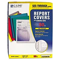 C-Cline 32457 Polypropylene Report Covers w/Binding Bars, Economy, Clear, 11 x 8 1/2, 50/BX [並行輸入品]