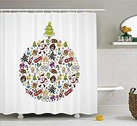 クリスマス&新年おめでとう シャワーカーテン バスカーテン 防カビ おしゃれ 210x180cm
