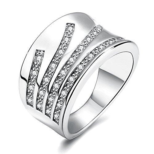 [해외]Rockyu 브랜드 약혼 반지 여성 결혼식 실버 플래티넘 스포티 CZ 반지 14 호/Rockyu Brand Engagement Ring Ladies Wedding Silver Platinum Sporty CZ Ring No. 14