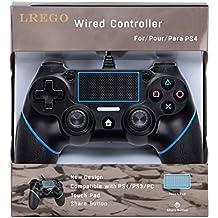 LREGO PS4とPS4 PRO PS3有線 コントローラー 握り心地がいいゲームパッド 振動機能付き、ターチパンド付き、USB有線コントローラ