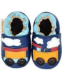 Kimi + Kai Kids Soft Sole Leather Crib Bootie Shoes - Choo Choo Train