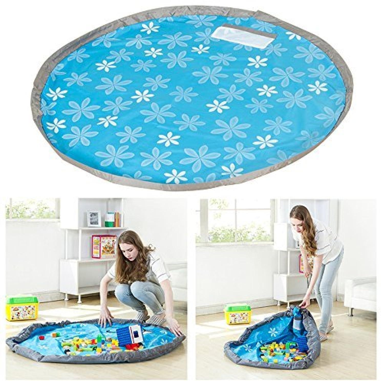 片付けブロック おもちゃ 収納マット, AKPATI お片づけ 収納 プレイマット 収納袋 持ち運び マット キッズ 子供 玩具 ブロックのお片づけ ポーチ プレイマット 片付けらくらく 直径150cm - ブルー
