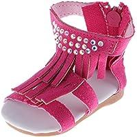 Lovoski ペア ピンク PUレザー 18インチドール 人形用シューズ 靴 サンダル