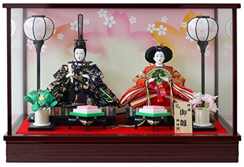 雛人形 ケース入り親王飾り 間口54.5×奥行27.5×高さ36.5cm ワイン塗枠ガラスケース 3142