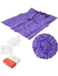 [ 京都きもの町 ] 古希、喜寿 頭巾、ちゃんちゃんこ、末広セット「紫色」