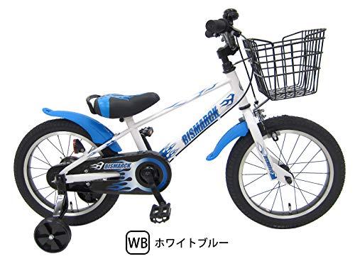 組立済み ビスマーク 16インチ ホワイト×ブルー 補助輪付き 組み立て式 子供用自転車 幼児自転車