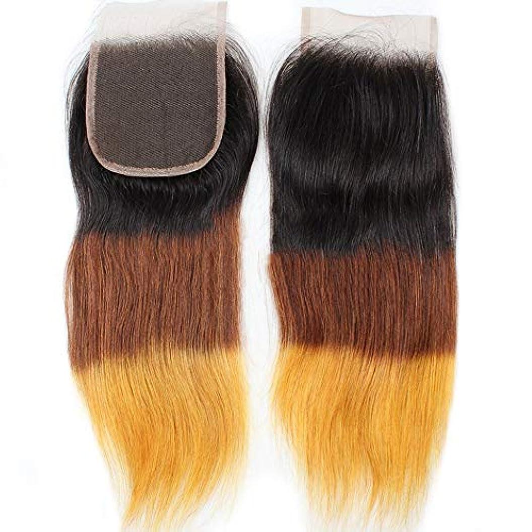 かんがい王位ランチョンHOHYLLYA 4×4レース前頭閉鎖無料部分耳から耳9Aブラジルストレートヘアグラデーションカラー人間の髪の毛の合成髪レースかつらロールプレイングウィッグロングとショートの女性自然 (色 : ブラウン, サイズ : 10...