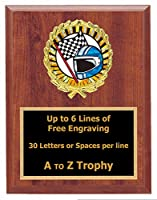 Racing Plaque Trophy 7 x 9 Wood Stock Car Awards go kart race Trophies Free Engraving