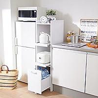 【直送】すき間キッチンラック(A・高さ124cm・スライド棚) ブラウン