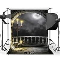 Gladbuy 7×7フィート ゴシック バックドロップ マジックブック 輝く月 夜 燭台 ダーク 雲 風化グランジレンガ 壁 アーチドア ビニール 写真 背景 子供 大人 仮面舞踏会 写真スタジオ小道具 MP120