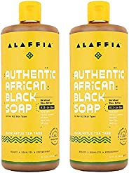 Alaffia Authentic African Black Soap All-In-One, Eucalyptus Tea Tree 32 FZ (Pack of 2)