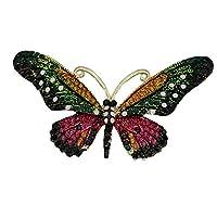 Mondora プロム ブローチ ピン アニマル 蝶 エナメル 女性用 オーストリアンクリスタル ゴールド調 ピンク