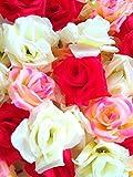 SeleCreate バラ ローズ 造花 フェイク フラワー 花 部分 のみ 50個 セット 3色