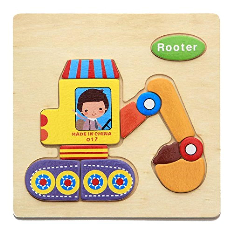 木製の3Dパズルジグソーパズル子供子供漫画の動物知能教育玩具 - 応援